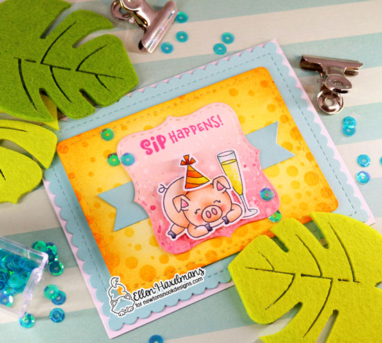 Pig Birthday Card by Ellen Haxelmans | Oink Stamp Set, Frames Squared and Frames & Flags Die Sets and Bubbly Stencil by Newton's Nook Designs #newtonsnook #handmade