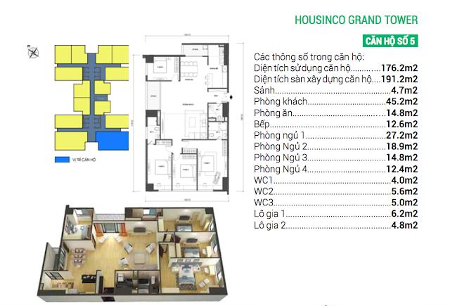 Thiết kế căn hộ số 05 Housinco Grand Tower