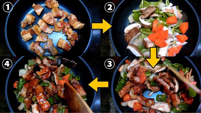 フライパンを熱して油を入れ、切り分けた豚肉を重ならないように並べ入れてこんがり全体を焼きます。 焼けたら一旦取り出して油をきっておきます。  同じフライパンで野菜を炒め、焼き色が付き始めたら豚肉を戻し入れて全体を混ぜ合わせたら【合わせ調味料】をまわし入れ、木べらで混ぜながら味をなじませます。