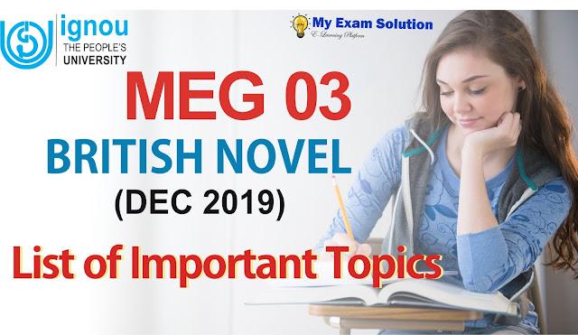 IGNOU MEG 03, List of important topics, MEG 03,