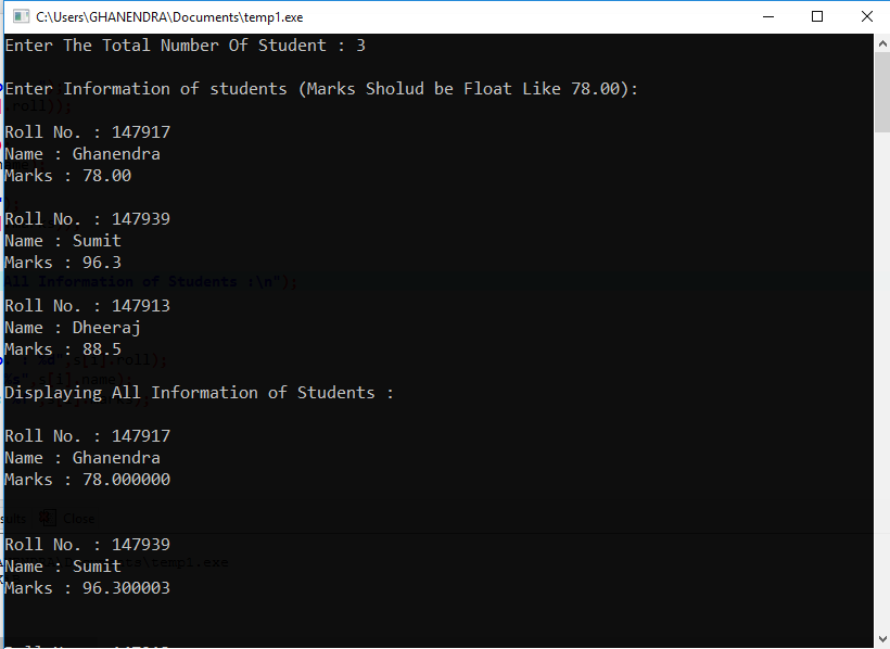 C Program To Store Information of Students Using Structure