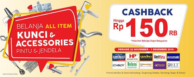 #DepoBangunan - #Promo Cashback 150K All Item Kunci & Aksesoris (s,d 01 Des 2019)