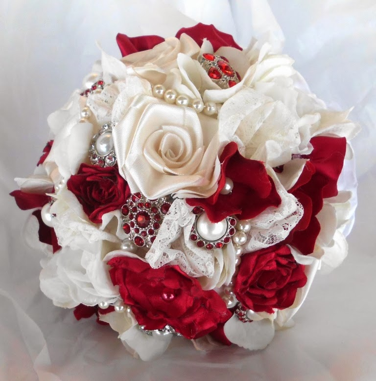 Have It All: Red, Ivory, White, Black, Brooch And Fabric