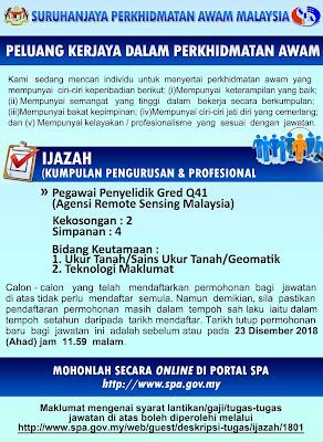 Jawatan Kosong Agensi Remote Sensing Malaysia (ARSM)