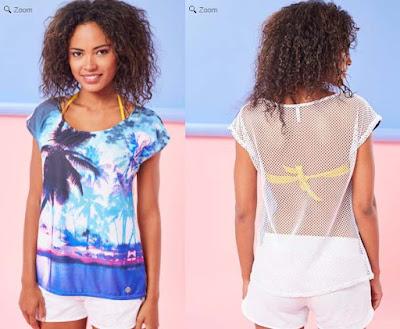 camiseta para mujer en color azul ideal para la playa