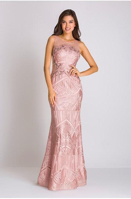 vestido longo rose bordado para madrinha