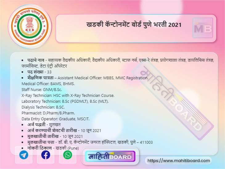 Khadki Cantonment Board Bharti 2021