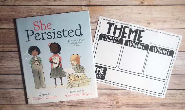 "Mentor Text with text ""She Persisted"" and Graphic Organizer with text ""Theme"""