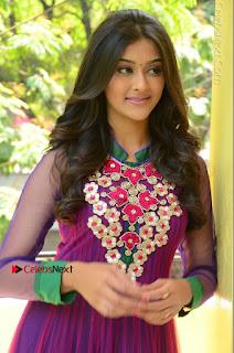Actress Pooja Jhaveri Latest Stills in Purple Salwar Kameezt at Dwaraka Success Meet  0124.JPG