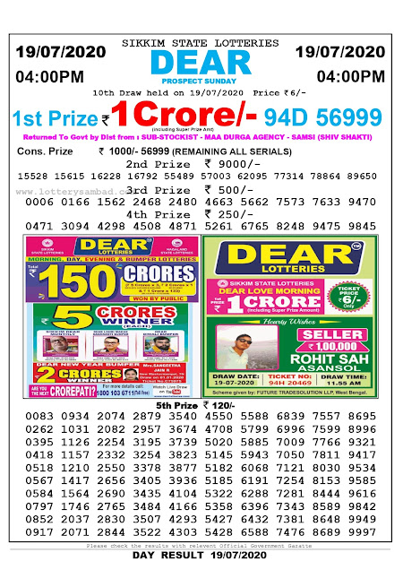 Sikkim State Lottery Sambad 19-07-2020 Today Result 4 PM