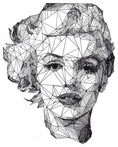 05-Marilyn-Monroe-Josh-Bryan-Monochromatic-Triangulation-Drawings-Portraits-www-designstack-co