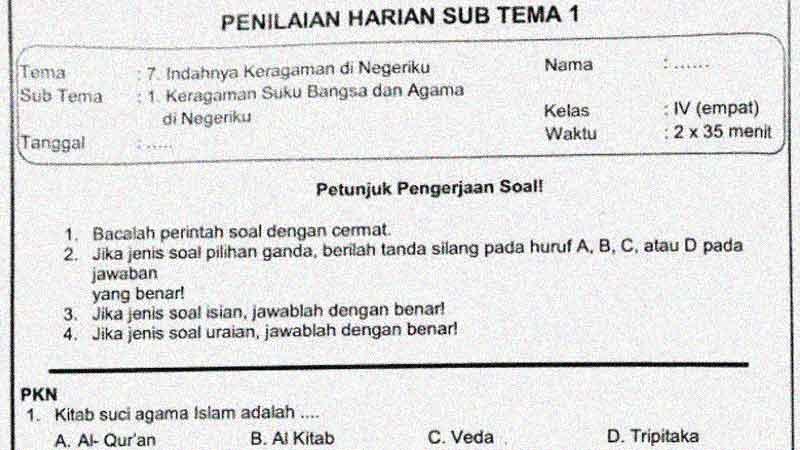 Soal Penilaian Harian Kelas 4 Tema 7 Subtema 1