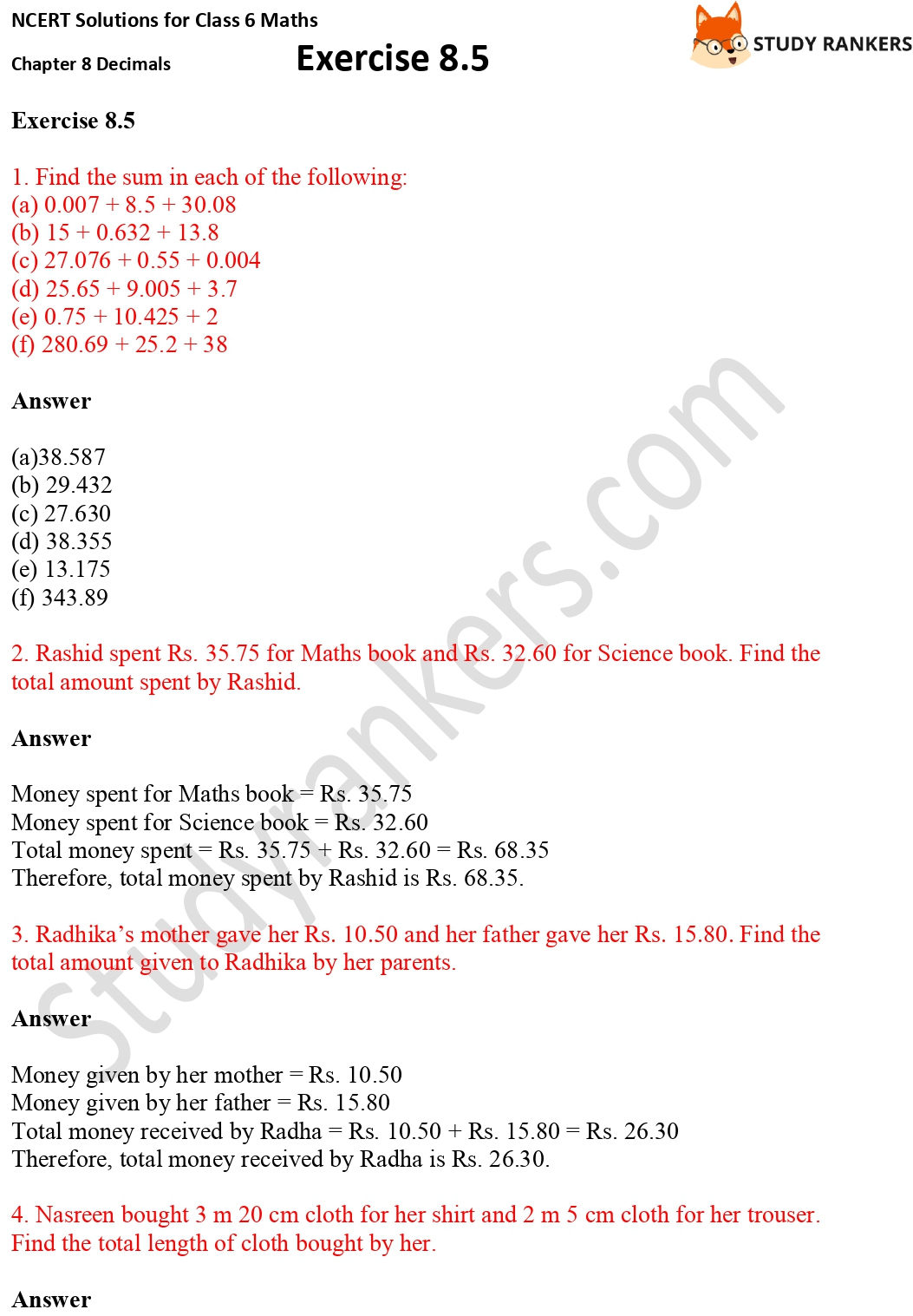 NCERT Solutions for Class 6 Maths Chapter 8 Decimals Exercise 8.5 Part 1