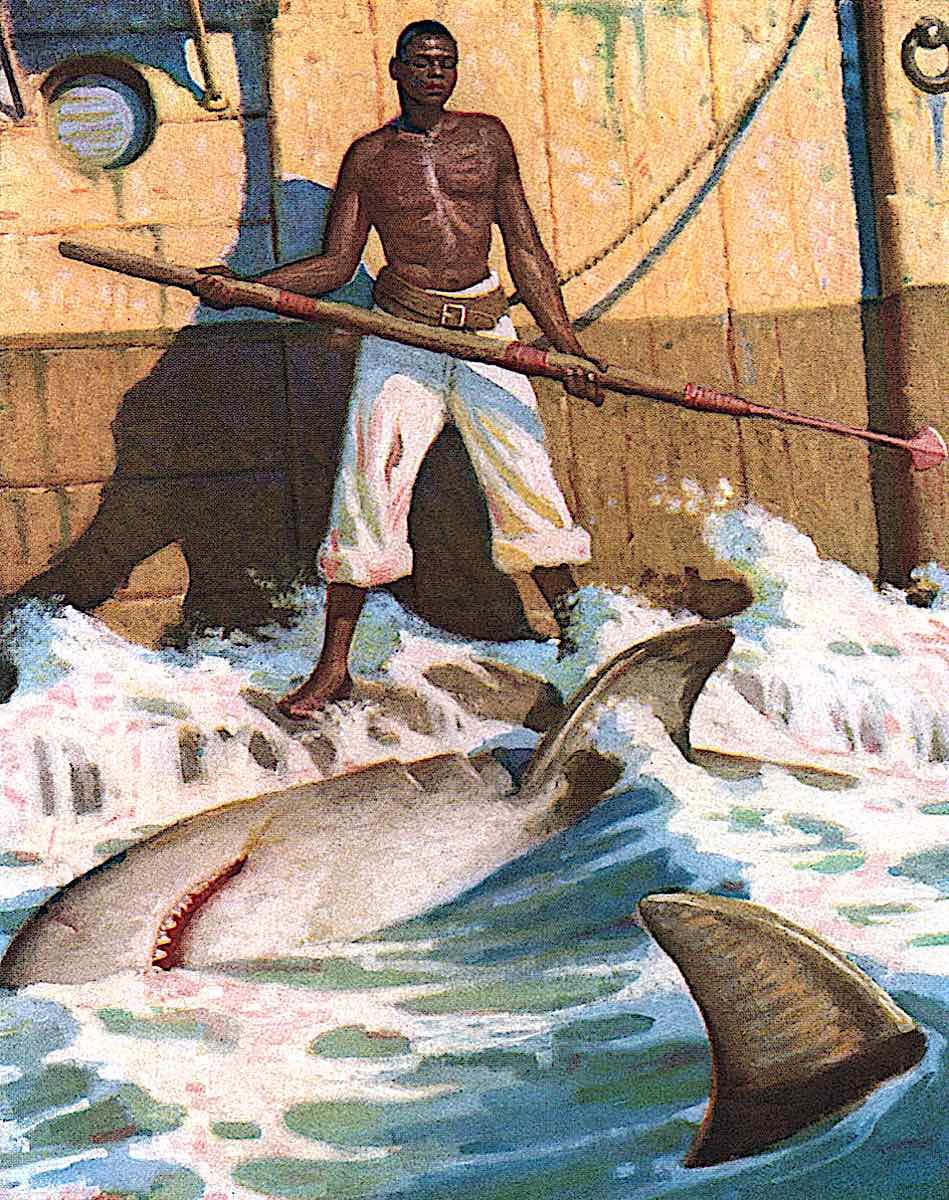 Mead Schaeffer illustration of a sailor who is black doing a dangerous job