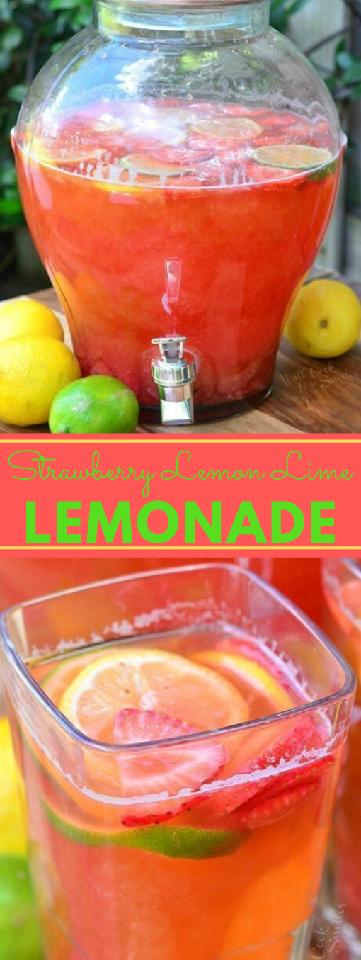 HOMEMADE STRAWBERRY LEMON LIME LEMONADE #drink #smoothie #lemonade #homemade #punch