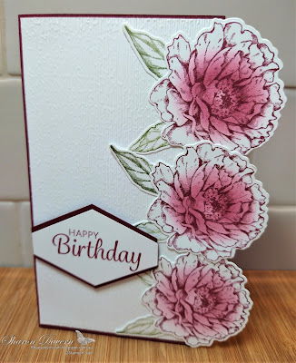 rhapsodyincract, Rhapsody in craft, Merry Merlot, Prized Peony, Peony Dies, Tailored Tag Punch, Subtle 3D, Colour Creations Showcase, Birthday Card, Stampin' Up!, #colourcreationsshowcase, Stampin' Up Annual Catalogue 2020-21