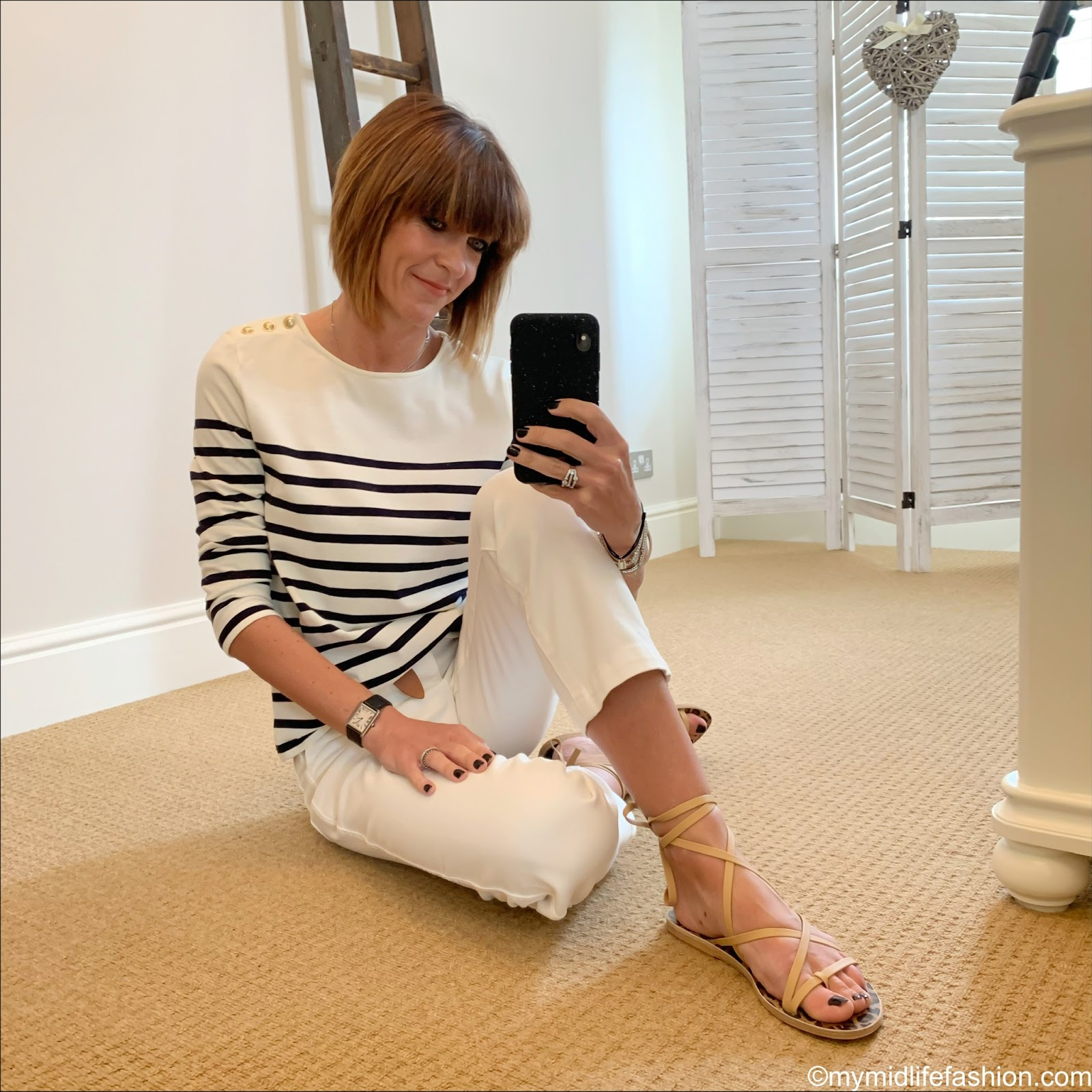 my midlife fashion, sezane loic striped jersey, Isabel Marant lecce leather belt, Ancient Greek sandals morif leather sandals, j crew straight leg crop jean in garment dyed cotton