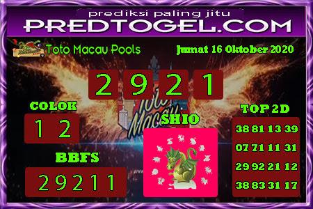 Pred Macau Jumat 16 Oktober 2020
