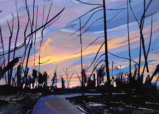 An acrylic painting of trees on a walking trail at dusk