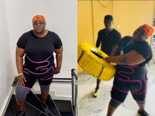 Nollywood Actress, Eniola Badmus Begins Weight Loss Drill (WATCH VIDEOS)