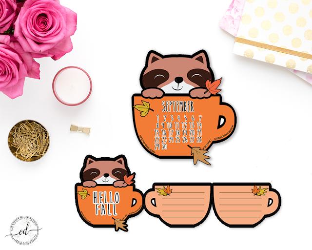 Fall Planner Accessories - September Calendar and 3D Planner Card. #plannergirl #planning #accessories