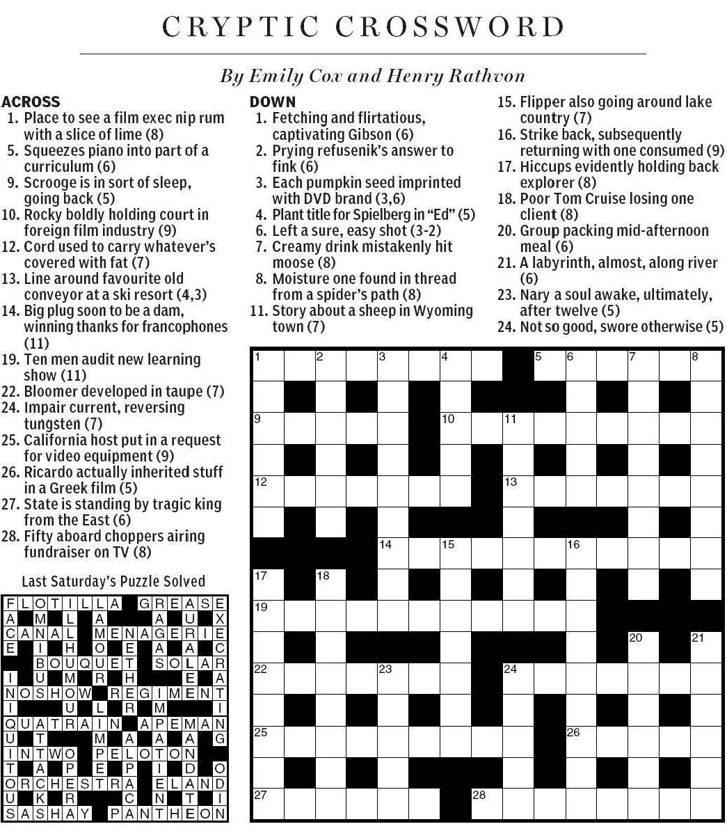 National Post Cryptic Crossword Forum: Saturday, November