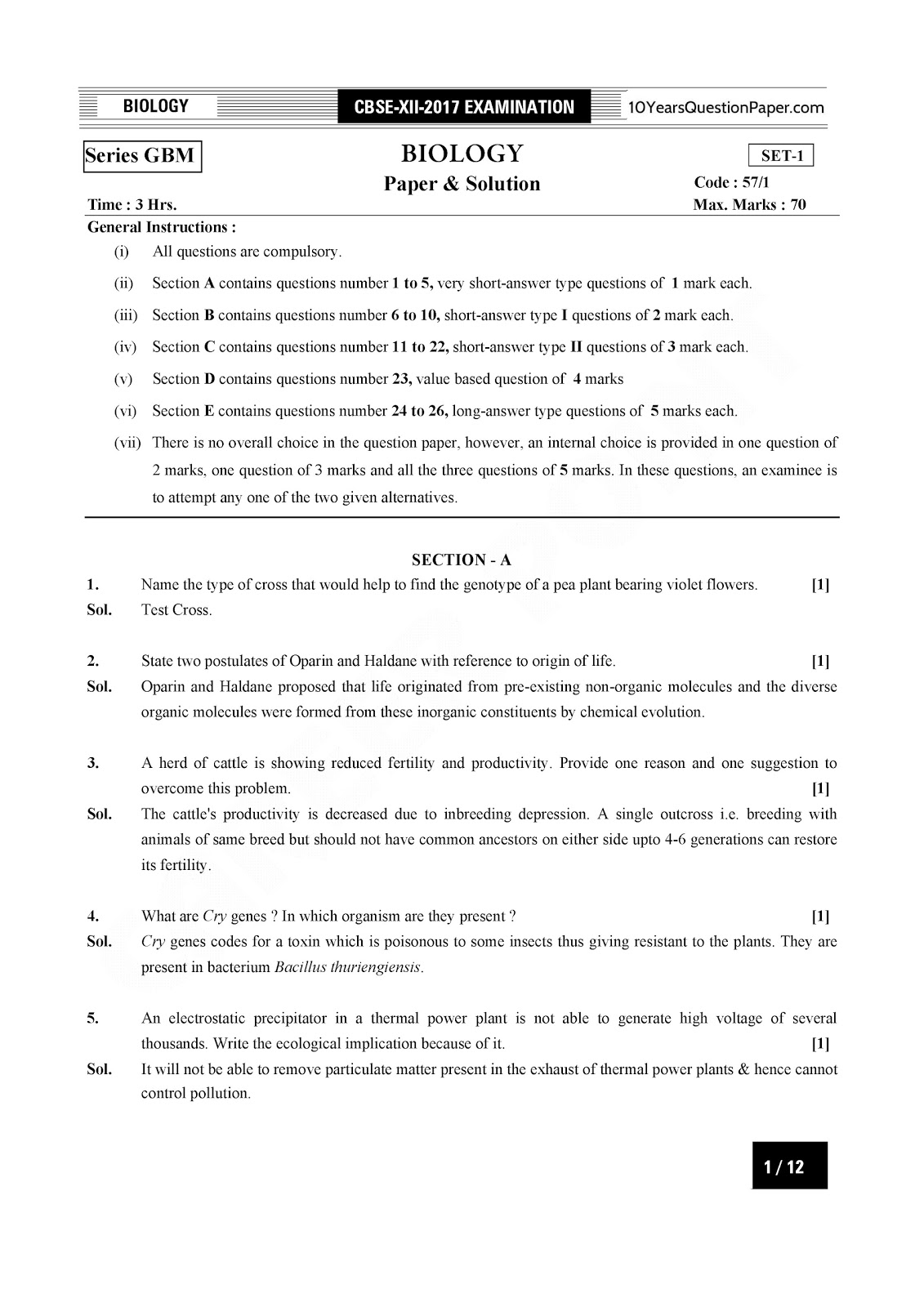 cbse class 12th 2017 Biology Solved paper