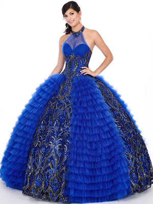 High Neckline Halter Royal/Gold Color Ball Gown Mery's Quinceanera Dress