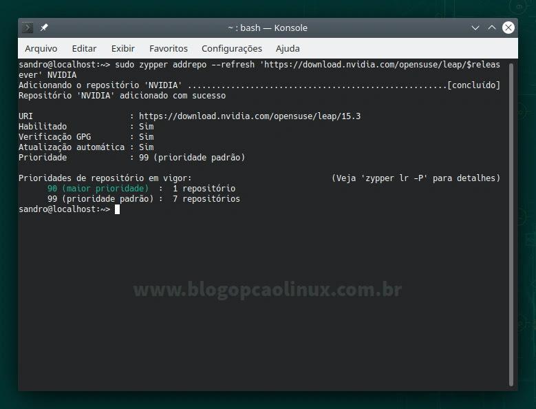 Adicionando o repositório da NVIDIA no openSUSE Leap 15.3