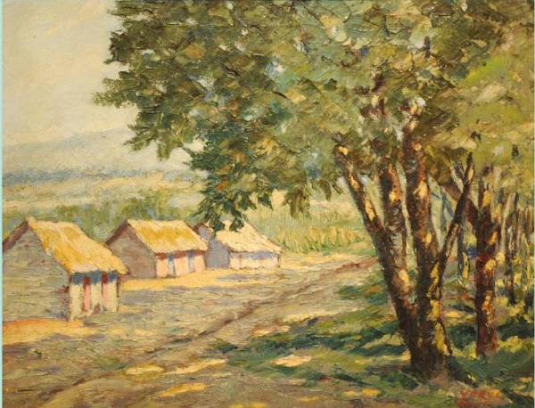 Paisaje con tres casas, 1942