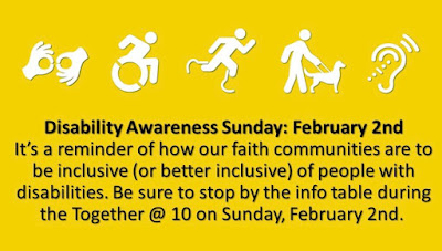 A poster with several symbols for various disabilities, below it is a text with notes about disability awareness Sunday and an information table