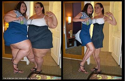 Zwei lustige dicke Frauen zum lachen - Abnehmen mit Photoshop - Vorher-Nachher