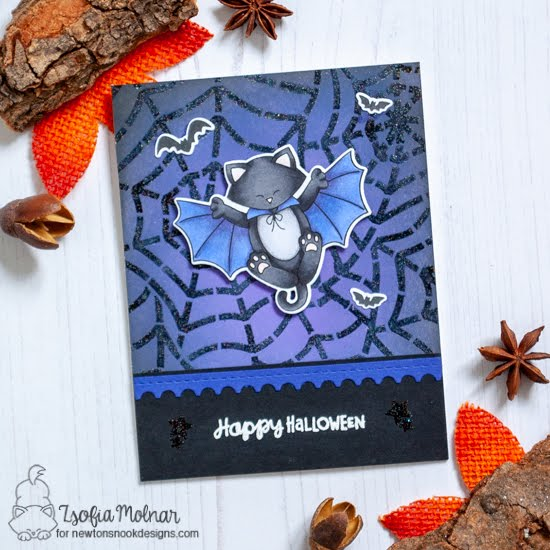 Halloween Cat Bat Card by Zsofia Molnar | Batty Newton Stamp Set, Spiderweb Stencil, and Framework Die Set by Newton's Nook Designs #newtonsnook #handmade