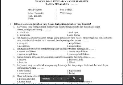Soal PAS Seni Budaya (SBK) Kelas 8 Kurikulum 2013 Sem.2/Genap