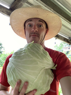 Farmer Man Holding Giant Cabbage