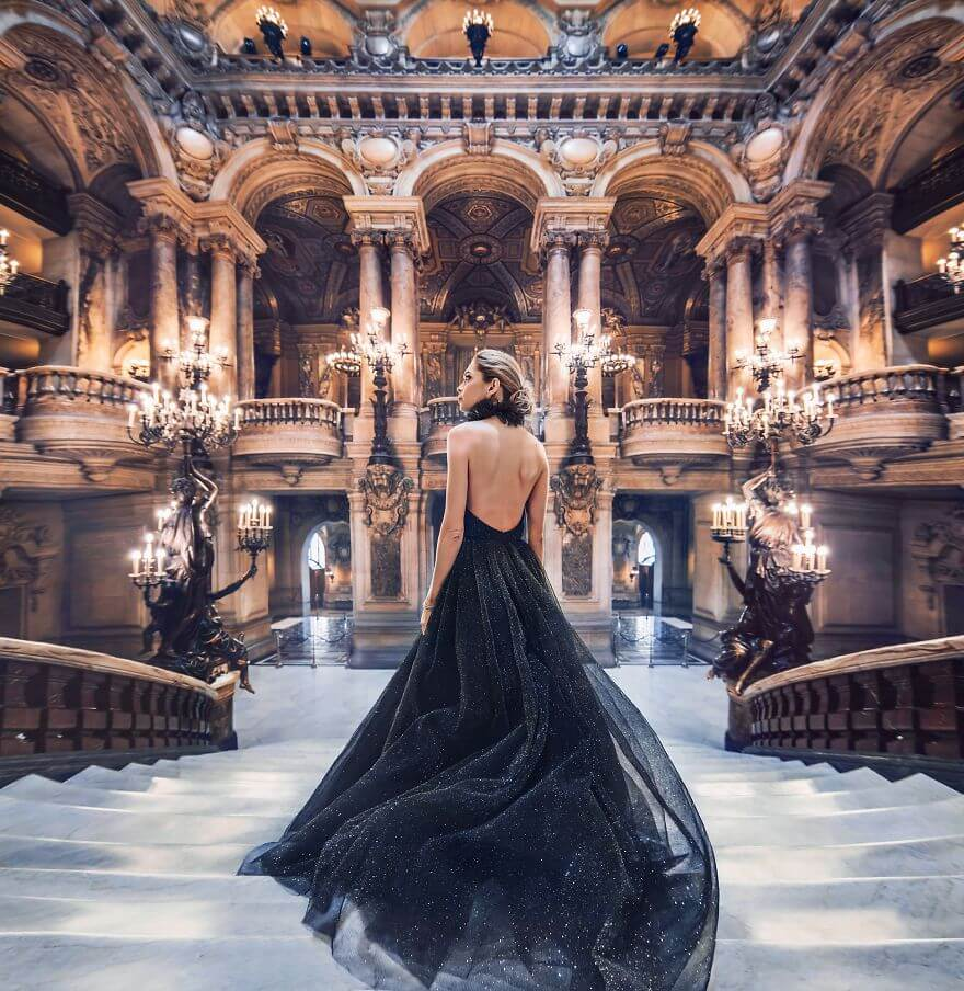 15 Pictures Of Girls In Dresses That Beautifully Match Their Backgrounds - Opéra De Paris, Palais Garnier, Paris, France. Model Vera Brezhneva