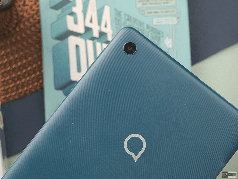 It has a textured finish at the back with a minimal Alcatel branding
