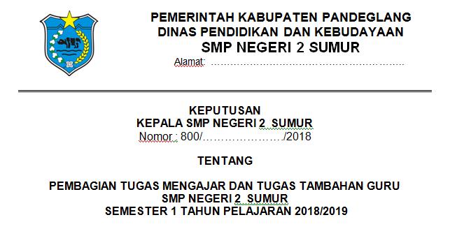 Contoh SK Pembagian Tugas Guru (Sk Kbm) Tahun Pelajaran 2018/2019