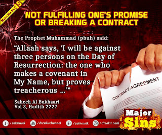 MAJOR SIN. 45. NOT FULFILLING ONE'S PROMISE OR BREAKING A CONTRACT