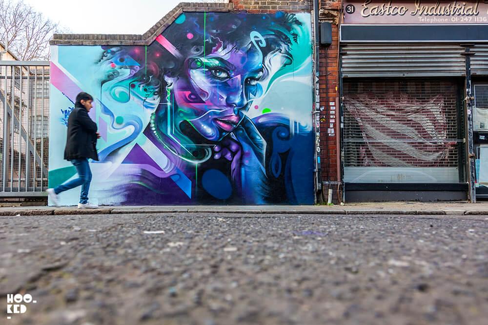 Striking London Mural by Graffiti Artist Mr Cenz on Fashion Street, London