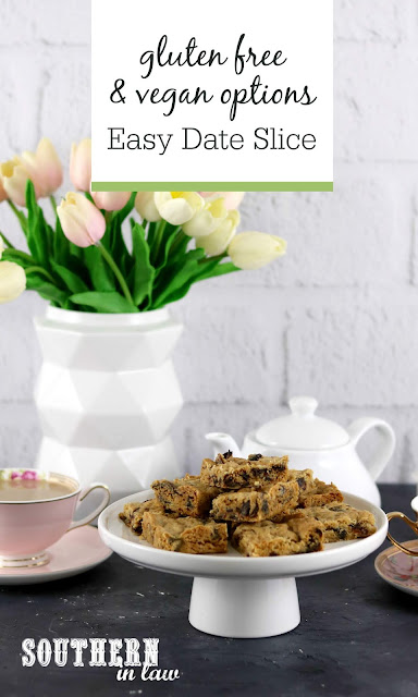 Easy Gluten Free Date Slice Recipe - vegan, date cookie bars, egg free, dairy free, six ingredients