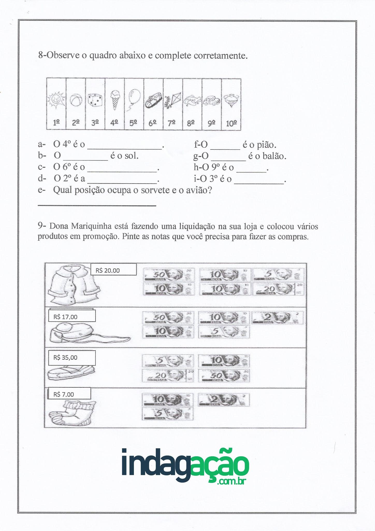 Atividade de Matemática: os numerais de 0 a 20, número ordinais e adição