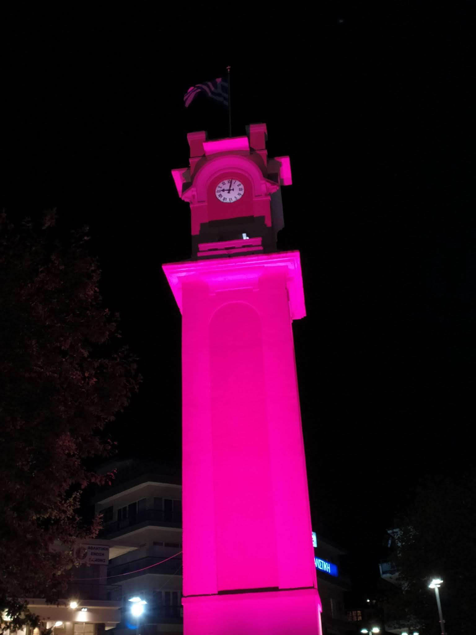 Ντύθηκε στα ροζ το Ρολόι της Ξάνθης για τον καρκίνο του μαστού