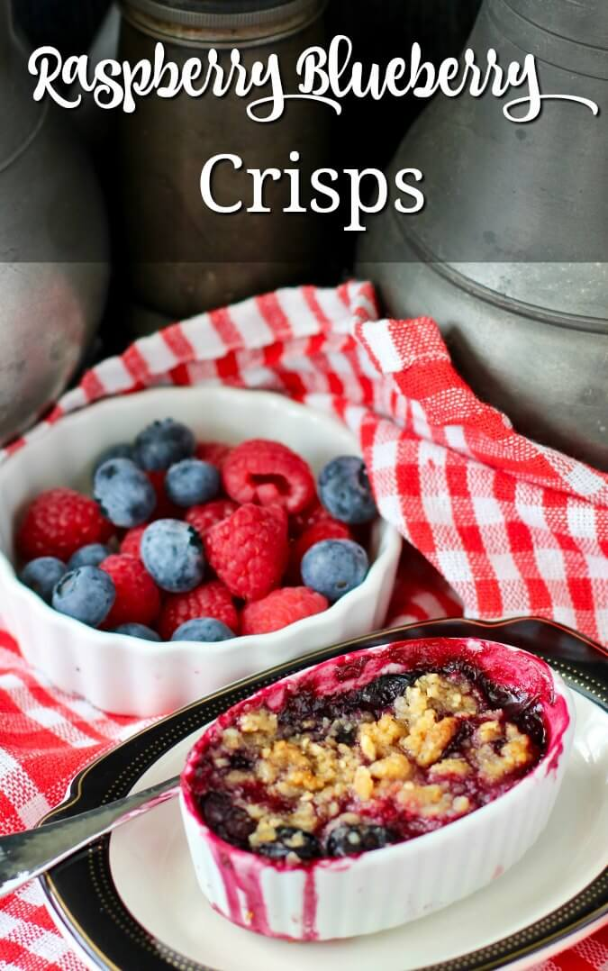 Mini Raspberry-Blueberry Crisps with an almond oat crumble