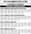 Horário de ônibus I20 COLOMBO / SÃO JOSÉ 2020