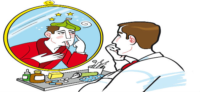 homem saudável se vendo doente no espelho