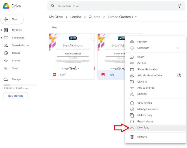 Cara Download File di Google Drive Lewat Komputer atau Laptop