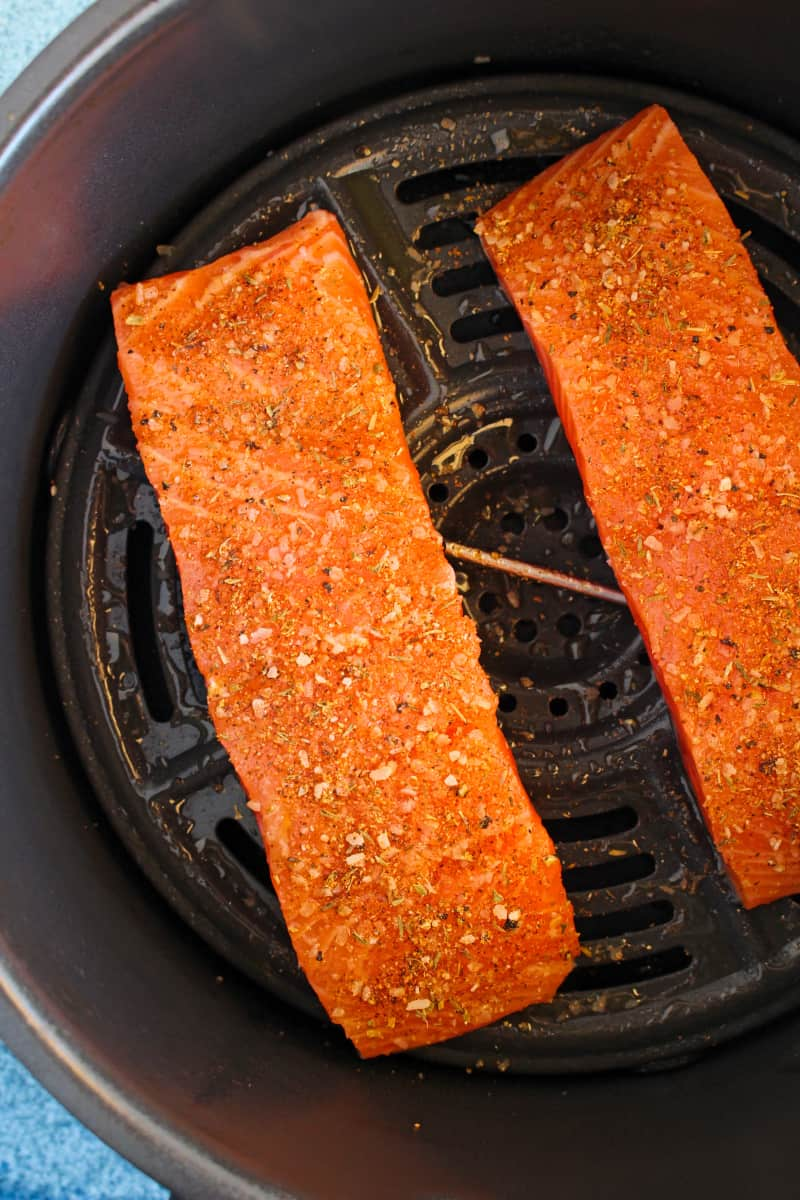 Air Fryer Salmon is the most irresistible, golden, perfectly cooked salmon ever. It is so easy to make, you will never want to prepare any other way. Make it in just 10 minutes!