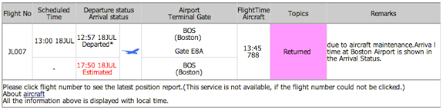 Flight status of JL007 shown on JAL website
