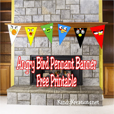 Angry Bird Pennant Banner Printable  Celebrate the Angry Birds this summer with this free printable pennant banner.  These five birds and one pig will have your home squaking with loads of fun at your next Angry birds party.